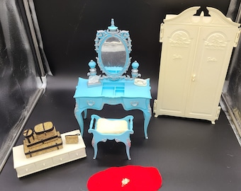 Sold Separately!Vintage 1960s Suzy Goose Barbie Furniture. Wardrobe, Vanity and stool, Bench and Display Luggage.