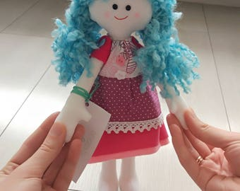 Textile doll Handmade doll Felt Doll Fabric doll Tilda doll Rose doll Soft doll Cloth doll Collectable doll Rag doll Interior doll
