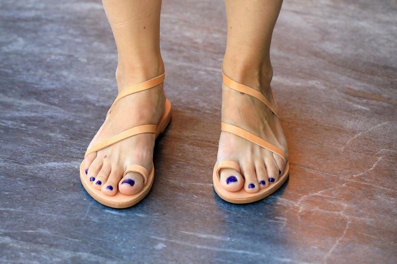 Natural Leather Sandals Toe Ring Strappy Sandals (natural or black color)
