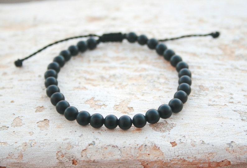 Leo Zodiac Stone Men Healing Bracelet Man Bead Black Matte Onyx Gift Birthday Unisex 6mm