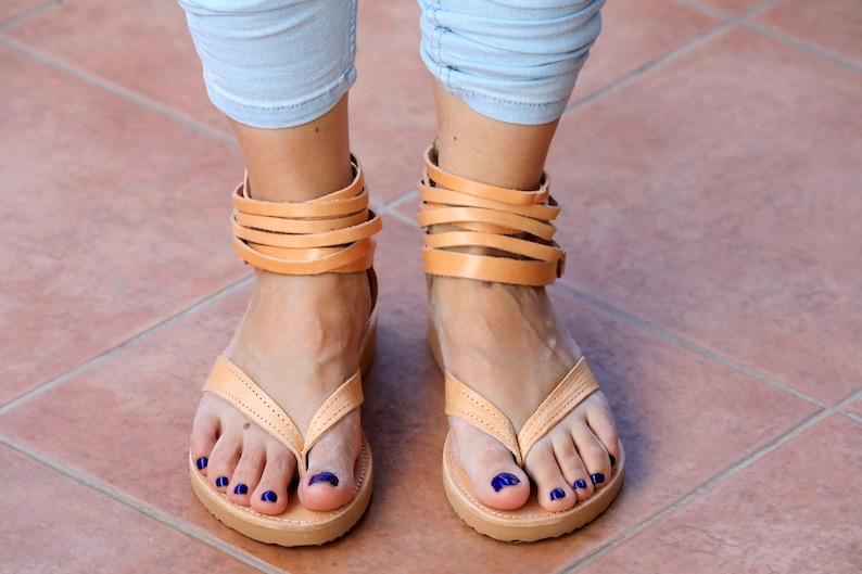 db7e440ed Leather woman Greek Sandals Flip Flops with Natural Leather