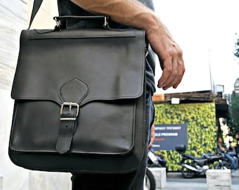 Chistmas Gift, Men Leather Messenger Bag, Gift For Men, Gift For Him, Black Leather, Tablet Business Bag, Leather Briefcase,  Men bag