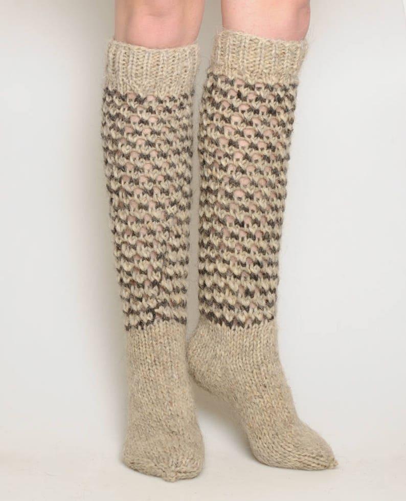 warm high socks gift idea hand knitted socks winter socks Christmas socks hand knit hosiery Gray wool socks woolen knee socks