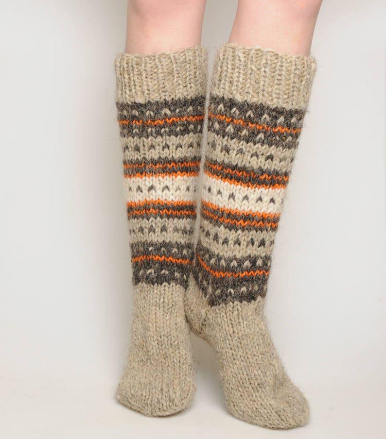 ba7a6cccd Warm high socks hand knit hosiery winter socks Christmas
