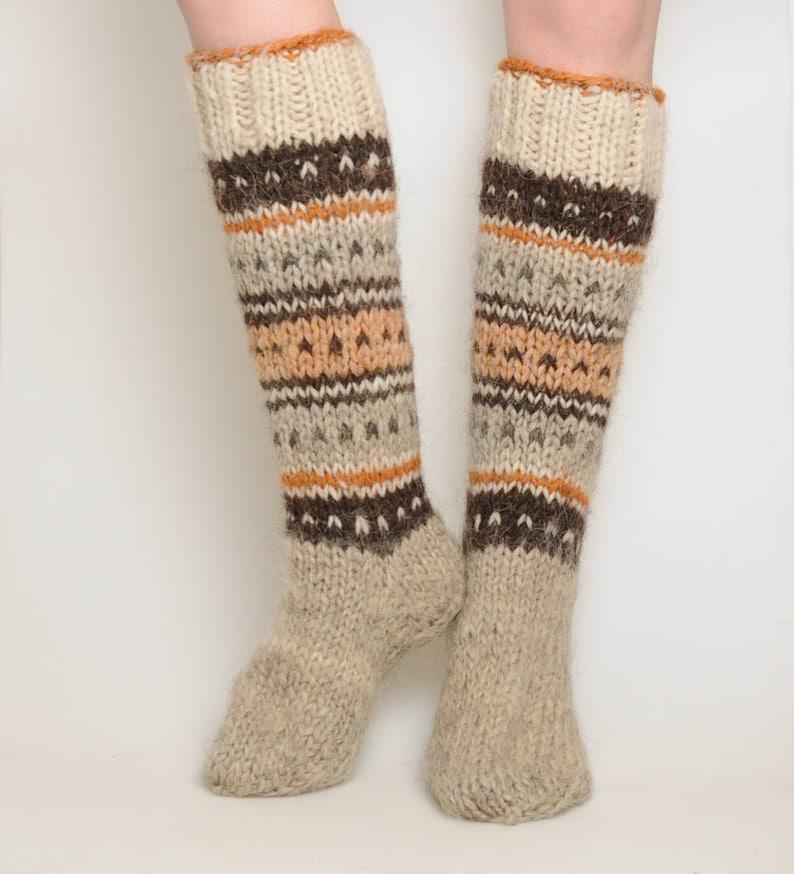 f34ceb566 Hand knitted socks warm high socks hand knit hosiery winter