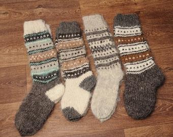 Woolen knee socks, hand knitted socks, warm high socks, hand knit hosiery, winter socks, Christmas socks, natural wool socks, gift idea
