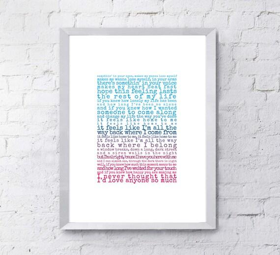 Feels Like Home Print, song lyrics print, Gift for husband, Gift for wife,  song lyrics first dance anniversary gift, gift for him