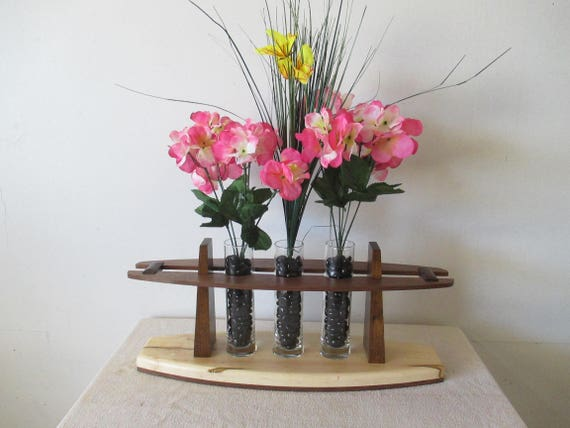 Wood 3 Bud Vase Flower Stand Flower Vase Flower Vase Stand Etsy