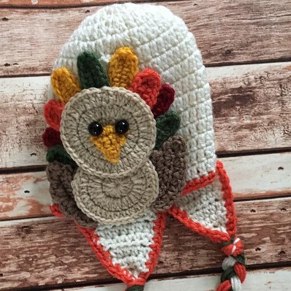 a113d259dad Turkey hat crocheted Thanksgiving hat Toddler turkey hat