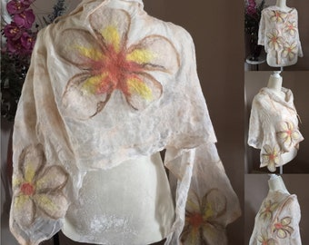 Peaches and Cream in Bloom Nuno felted wrap, shawl, over sized scarf, summer wrap, ladies scarf/wrap with Frangipani (primrose) flowers