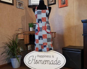 country cotton checkered Fruit apple pear apron China Galore Vintage Country Fruit Cotton Apron Very good Handmade Vintage Apron