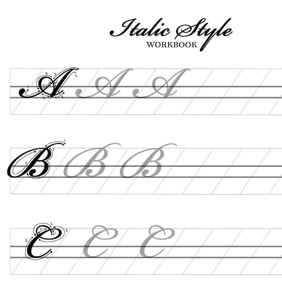 Italic Brush Lettering Worksheets | Hand Lettering Practice | Custom  Calligraphy | Hand Lettering Alphabet | Practice Words | Calligraphy
