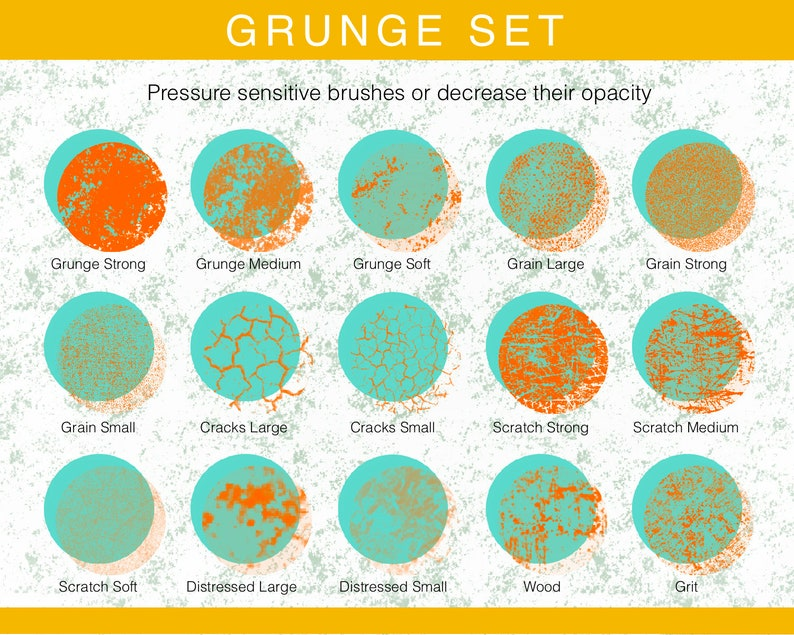 Distressed Texture Vintage Texture Brush Pack for Procreate 5 Grunge Procreate 5 Brushes Pack Cracks Texture Grain Texture