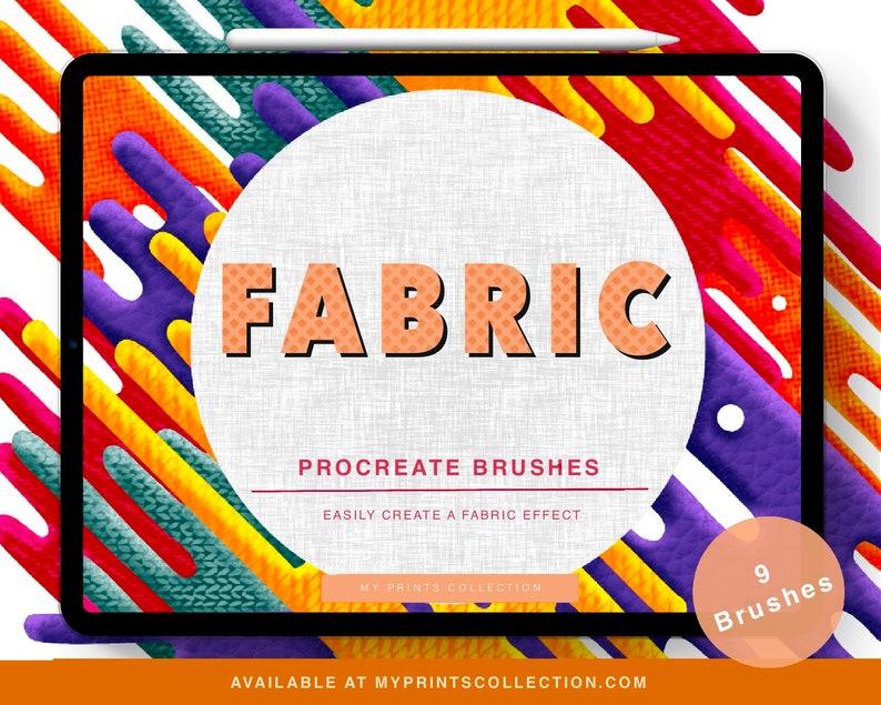 Fabric Procreate 5 Brushes Pack Leather Texture Denim image 0