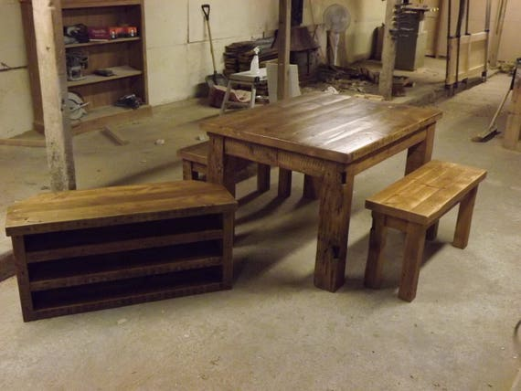 Groovy Reclaimed Pine Table And Benches With Tv Shelf Unit Gmtry Best Dining Table And Chair Ideas Images Gmtryco
