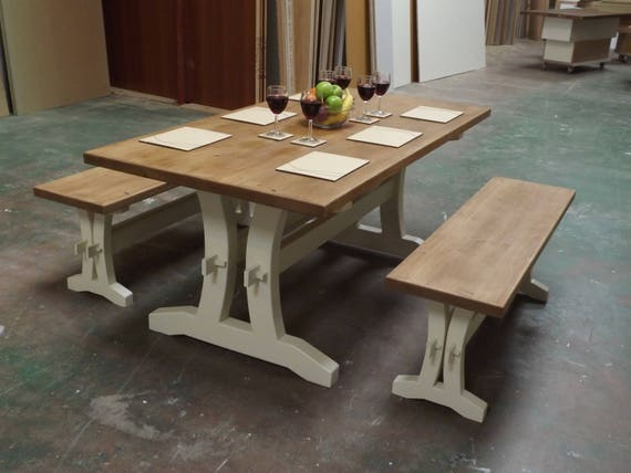 Pleasant Polished Pine Table With Swept Leg Stretcher Base And Matching Benches Gmtry Best Dining Table And Chair Ideas Images Gmtryco
