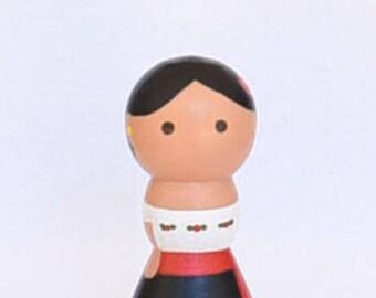 Mexican Folk Dancer Peg Doll