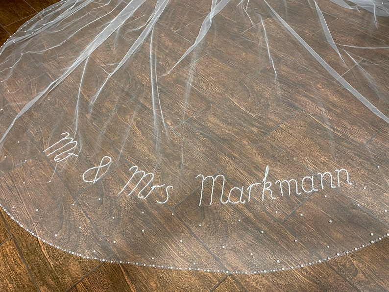 Personalized wedding veil with pearls Veil with your custom Initials Beaded letters monogram veil. words phrases on a veil