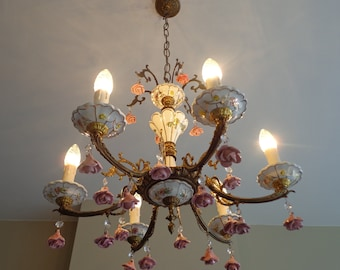 Atemberaubende Vintage Porzellan Kronleuchter, Kleine Kristalle, Rosa  Rosen, Kronleuchter Beleuchtung, Beleuchtung Kronleuchter, 6 Armige Leuchter