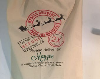 Personalized Santa Sack-Christmas Bag-Express Deivery From the North Pole