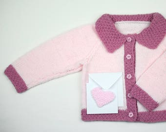 Hand knitted baby girl cardigan.Pale pink with contrast edging.Matching  gift card.