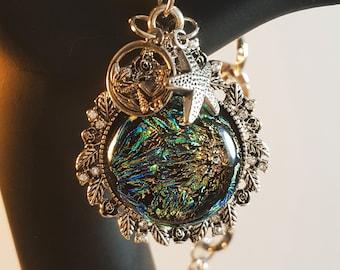 La Sirene - splendid fused glass cabochon pendant necklace