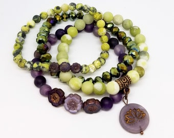 Beaded stretch bracelet stack with charms - Lilac Lotus