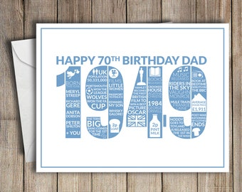 70th Birthday Card Dad 1949 70 Greeting Birth Year Facts Blue