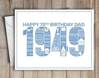 70th Birthday Card Dad 1949 70 Greeting Birth Year Facts Blue