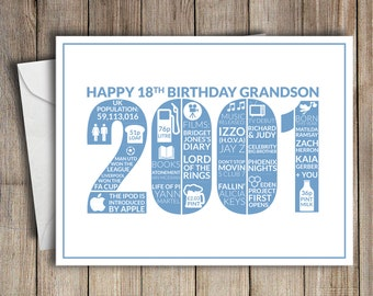 18th Birthday Card Grandson 2001 18 Greeting Birth Year Facts Blue