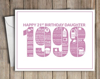 21st Birthday Card Daughter 1998 21 Greeting Birth Year Facts Pink