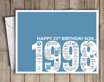 21st Birthday Card Son 1998 21 Greeting Birth Year Facts Blue