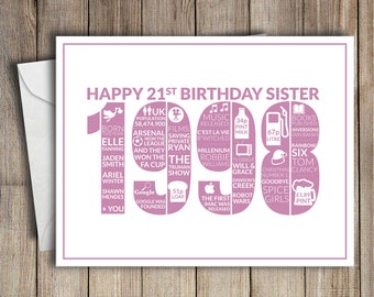 21st Birthday Card Sister 1998 21 Greeting Birth Year Facts Pink