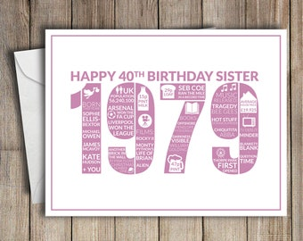 40th Birthday Card Sister 1979 40 Greeting Birth Year Facts Pink