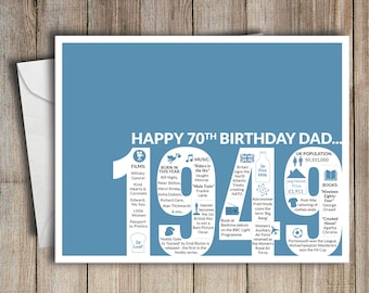 70th Birthday Card Dad 1949 70 Greeting Birth Year Facts