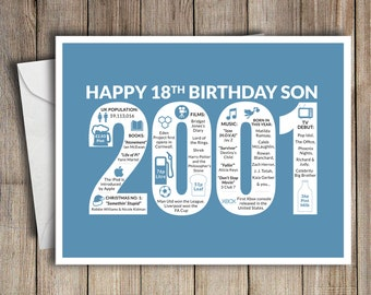 18th Birthday Card Son 2001 18 Greeting Birth Year Facts Blue