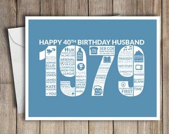 40th Birthday Card Husband 1979 40 Greeting Birth Year Facts Blue
