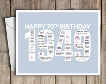 70th Birthday Card 1949 70 Greeting Birth Year Facts Light Blue