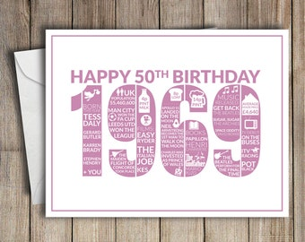 50th Birthday Card 1969 50 Greeting Birth Year Facts Pink