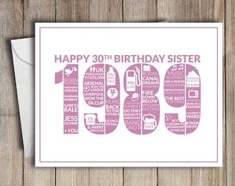 30th Birthday Card Sister 1989 30 Greeting Birth Year Facts Pink