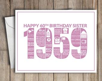 60th Birthday Card Sister 1959 60 Greeting Birth Year Facts Pink