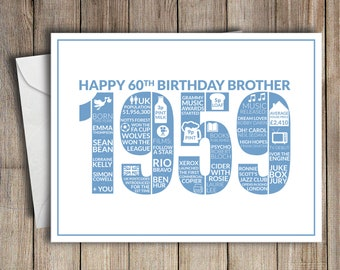 60th Birthday Card Brother 1959 60 Greeting Birth Year Facts Blue