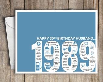 30th Birthday Card Husband 1989 30 Greeting Birth Year Facts Blue