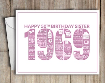 50th Birthday Card Sister 1969 50 Greeting Birth Year Facts Pink