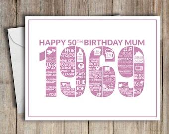 50th Birthday Card Mum 1969 50 Greeting Birth Year Facts Pink