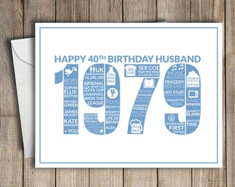 40th Birthday Card Husband 1979 40 Greeting Birth Year Facts Blue