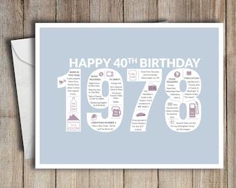 40th birthday card etsy 40th birthday card 1978 40 greeting card birth year facts light blue m4hsunfo