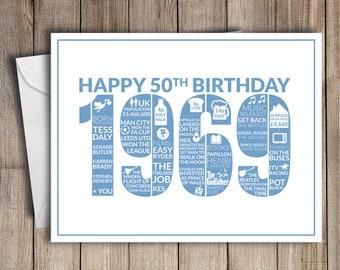 50th Birthday Card 1969 50 Greeting Birth Year Facts Blue
