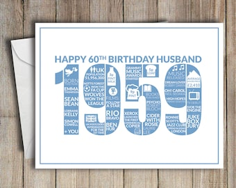 60th Birthday Card Husband 1959 60 Greeting Birth Year Facts Blue
