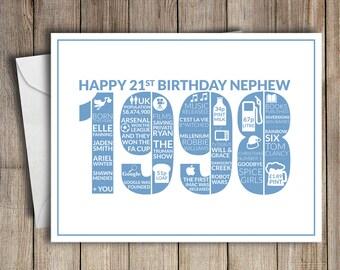 21st Birthday Card Nephew 1998 21 Greeting Birth Year Facts Blue